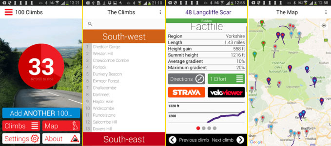 100 Greatest Cycling Climbs App