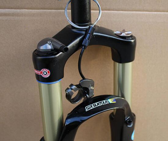 Lockout fork on a mountain bike